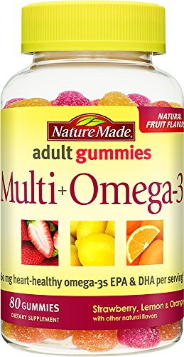 Omega 3 Gummies - Nature Made Multi + Omega-3 Adult Gummies (60 mg of DHA & Epa per Serving) 80 Ct,(Strawberry, Lemon, and Orange)