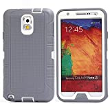 MOONCASE Galaxy Note 3 Case, 3 Layers Heavy Duty Defender Hybrid Soft TPU +PC Bumper Triple Shockproof Drop Resistance Protective Case Cover for Samsung Galaxy Note 3 N9000 -Grey White