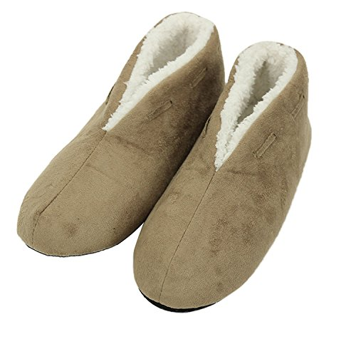 Forfoot Woman's Man's Couple's Cozy Faux Fur Suede Indoor House Fashion Non-Slip Mule Slipper Shoes Beige Small by Forfoot