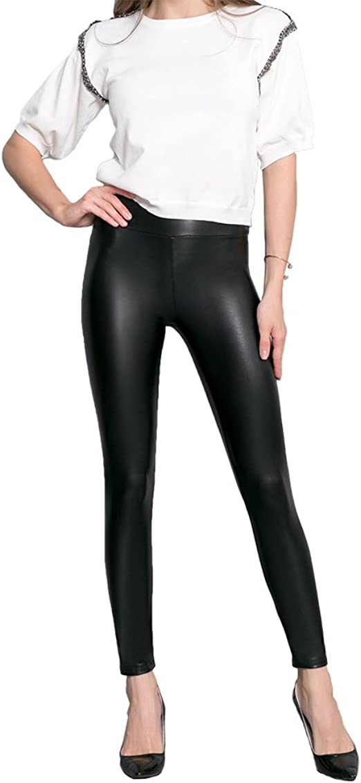 Womens Leather Look leggings Matte Effect PU Fleece Lined Slim Wide Waistband