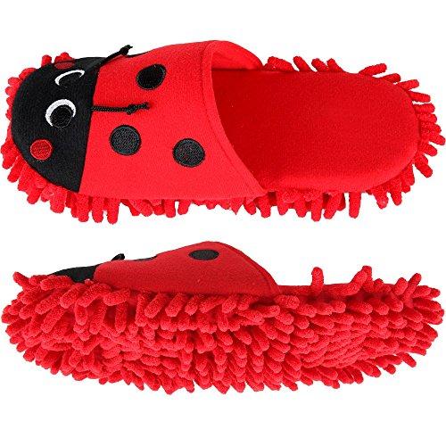 Home-X Ladybug Microfiber Dusting Slippers (Medium)
