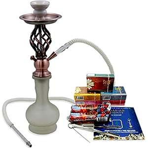 Full Hookah Pipe Shisha Package Set 5 SOEX Herbal Flavors Charcoal Sheesha Foil and Tongs