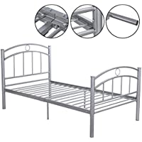Heavy Duty Silver Metal Bed Frame Platform Twin Size 83x42x35 With Ebook