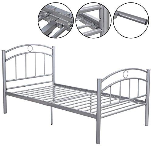 Heavy Duty Silver Metal Bed Frame Platform Twin Size 83
