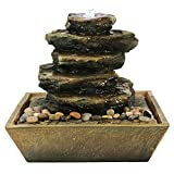 Sunnydaze Cascading Rocks Tabletop Water Fountain LED Light, Indoor Small Relaxation Waterfall Feature, 12 inch