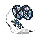 LEDMOMO Kit de luz de tira de 5M RGB LED Cable de luz LED resistente al agua con control remoto de 44 teclas IR multicolores DC 12V 6A Adaptador de fuente de alimentación 3 piezas - 3528