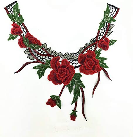 green 1 Pair small size guipure lace embroidered neck trim applique patch red