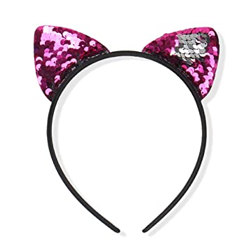 Amazon.com : Sequins Hairband, Glitter Cat Ears Headbands for Girl, Shine Sequins Kitty Cats Crown Hair Hoop Hairband Hair Accessories for Girls(Rose Red) : ...