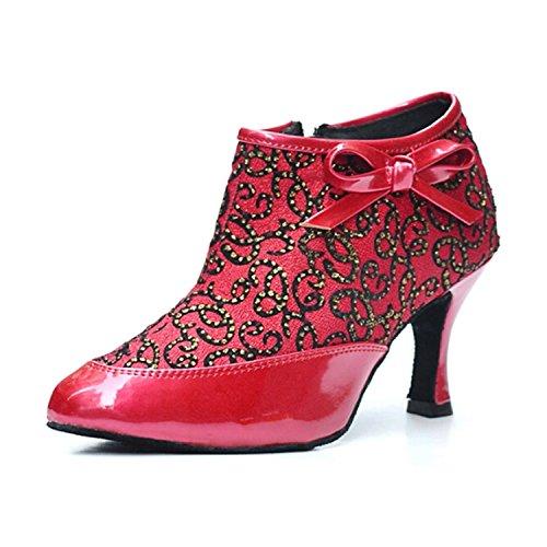 Femmes Latine YFF Danse Red Cadeaux Chaussures Tango 40 Dance Dance LEIT 7 5CM Danse UREYYqc