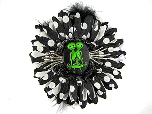 Nick's Bows Black PolkaDot & Black Feather w Green Conjoined Twins Cameo & Silver Hands Edgar Allen Poe Hair -