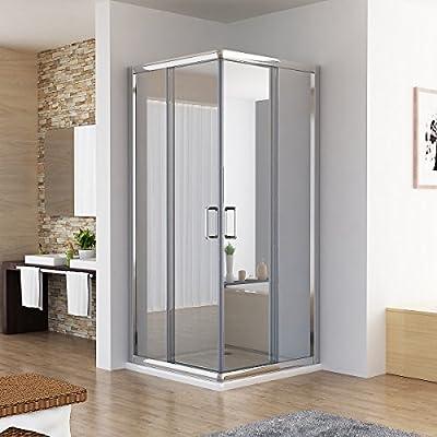 Cabina de ducha ducha puerta corredera entrada por la esquina Nano de vidrio de 90 x 195 cm con Duschwane: Amazon.es: Bricolaje y herramientas