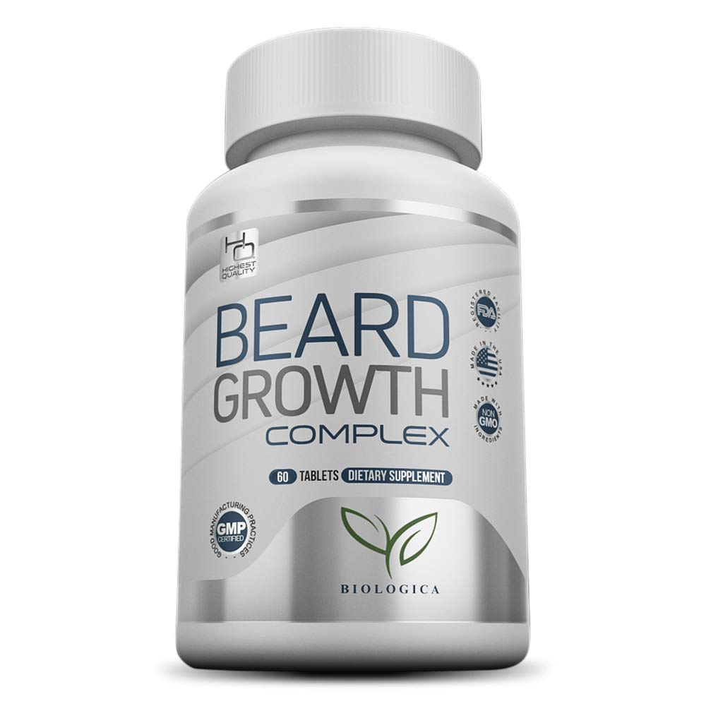Biotin Beard Growth Supplement For Men | Grow Your Facial Hair Thicker & Faster | Vitamin Pills For a Naturally Fuller, Healthier Beard and Sideburns | Suitable for All Hair Types and All Ethnicities by Biologica