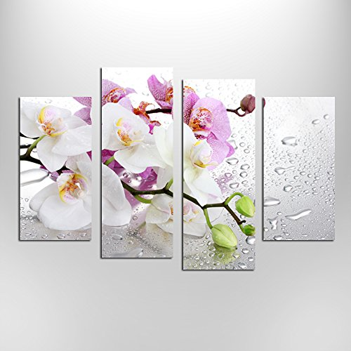 Hello Artwork 4 Panels Beautiful Butterfly Orchid Flowers Canvas Print for Home Decoration Painting Wall Art Picture Print on Canvas for Living Room Wall Decor Ready to Hang