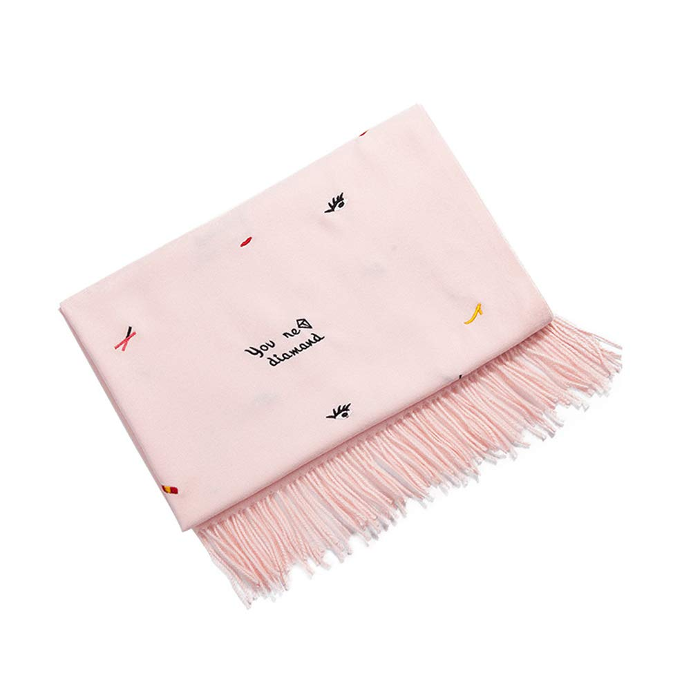 QAR Scarf Female Korean Version of Autumn and Winter Fashion Wild Embroidery Student Stand Collar Cute Casual Thickening Dualuse Shawl Scarf (color   Pink)