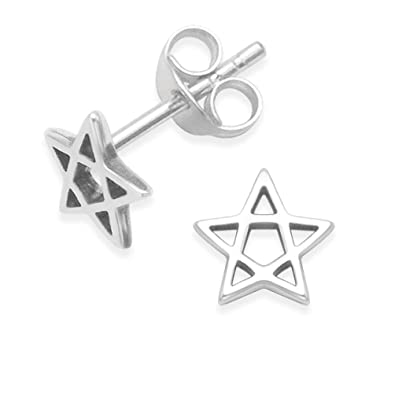 6c6759a0a Sterling Silver pentagram Earrings - star earrings SIZE: small 6mm. Gift  Boxed star earrings. 5146: Amazon.co.uk: Jewellery