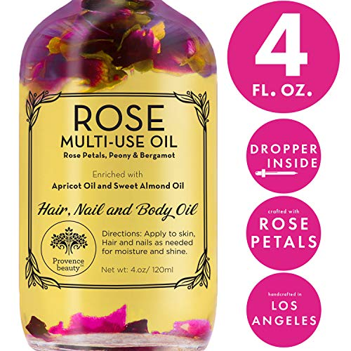 Rose Multi-Use Oil for Face, Body and Hair - Organic Blend of Apricot, Vitamin E, Fractionated Coocnut and Sweet Almond Oil Moisturizer for Dry Skin, Scalp and Nails - Rose Petals