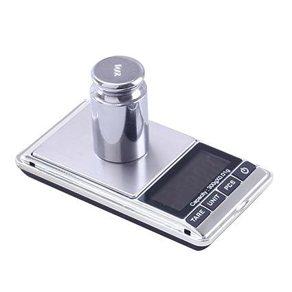 BESTOMZ Balanza de bolsillo electrónica digital Báscula de bolsillo de oro Gram Weight Scale (500g