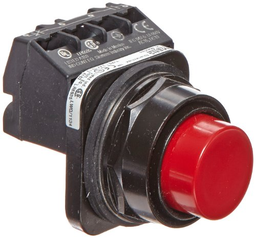 Siemens 52PX8B2A Heavy Duty Pushbutton Unit and Assembled Contact Blocks, Black Max Corrosion Resistant, Extended Cap, Red, 1 NO + 1 NC Contact Blocks