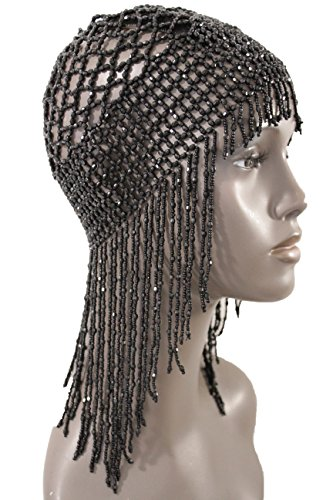 TFJ Women Head Piece Halloween Black Color Beads Hair Cover Long Fringes Stretch Web Elastic Net Party Hat