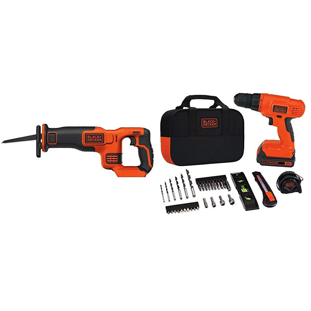 BLACK DECKER BDCR20B 20V Max Lithium Bare Reciprocating Saw with Black Decker BDCD120VA 20V Lithium Drill Driver Project Kit