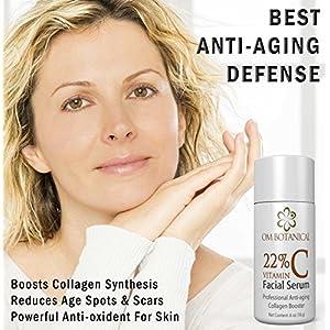 22% Vitamin C Serum, Organic Anti Aging Wrinkle Repair Facial Skin Care. Collagen Synthesis, Dark Spots Treatment w/ Argan Oil, Micro Algae. All Natural Face Serum in Airless Pump to Prevent Oxidation