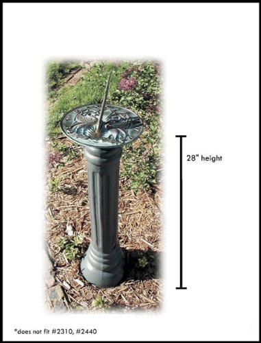 Rome B19 Large Column Sundial Pedestal Base, Cast Iron with Painted Finish, 28-Inch Height by 9-Inch Width