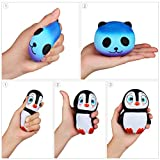 Enjoyee 3PCS Kawaii Jumbo Slow Rising Squishies-Starry Panda+Penguin+Tooth Stress Relief Squeeze Toys, For Kids and Adults