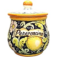 CERAMICHE D'ARTE PARRINI- Italian Ceramic Chilli Pepper Peperoncino Jar Holder Hand Painted Made in ITALY Decorated Lemons Tuscan Art Pottery