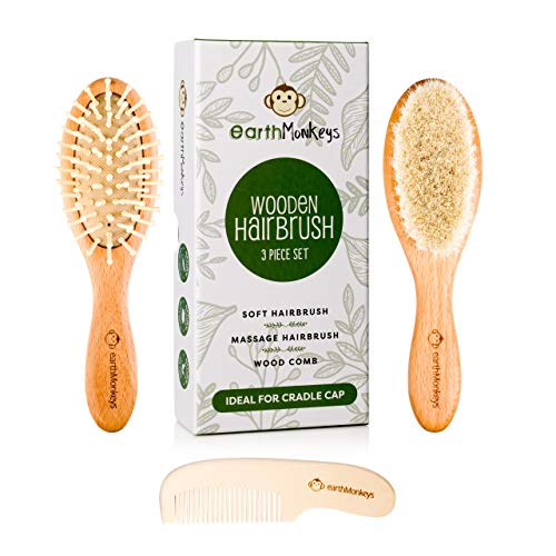 earthMonkeys Baby Toddler Hair Brush and Comb Set | 3-Piece Wooden Set Includes Natural Soft Goat Hair Brush for Cradle Cap | Great Gift for Registry -