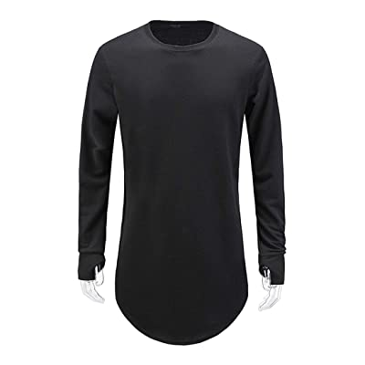 Aelfric Eden Mens Long Sleeve Thumb Hole Cuffs Tee Shirt Loose Hem Solid Color T-Shirt Basic Hip Hop Tee Tops | Amazon.com