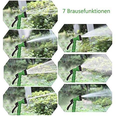 UISEBRT Flexibler Gartenschlauch Ausgedehnt 7,5m Haus und Garten zur Gartenbew/ässerung Rasenbew/ässerung Ausdrehbar Wasserschlauch mit Brause f/ür Autow/äsche 7,5m, Blau