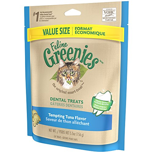 FELINE GREENIES Dental Treats for Cats Tempting Tuna Flavor 5.5 oz.