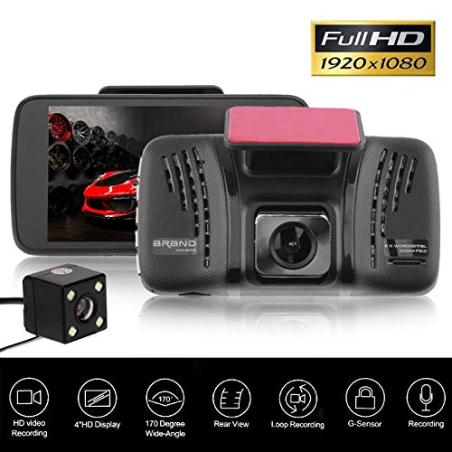 Sala-Store - 4 inch Car DVR Camera Dual Lens 170 Wide Angle Full Hd 1080P Video Recorder Registrator Night Vision Car Camcorder DVRs Dash Cam from Sala-Store