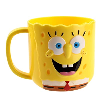 193060692fd04 Amazon.com  YOURNELO Baby s Cartoon Adorable Simple Cute SpongeBob  SquarePants Bathroom Accessories Toothbrush Holder Tumbler (SpongeBob)   Home   Kitchen