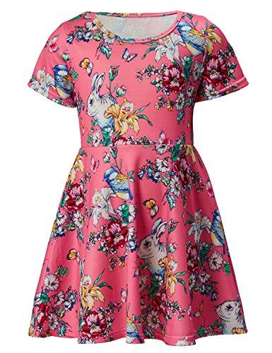 RAISEVERN Toddler Girl's Dress Cute Rabbit Flowers Print Short Sleeve Swing Skirt Casual Dress for Kids 2-3 Years -