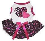Cheap Petitebella Puppy Clothes Dog Dress Double Heart White Shirt Hot Pink Black Tutu (XX-Large)