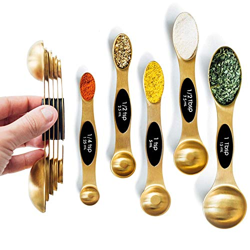 - Modern Magnetic Gold Measuring Spoons Set - Stackable, Stylish Sturdy Stainless Steel (5-Piece) for Cooking and Baking