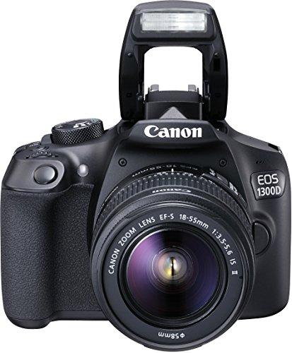 Canon EOS 1300D Digitale Spiegelreflexkamera (18 Megapixel, APS-C CMOS-Sensor, WLAN mit NFC, Full-HD) Kit inkl. EF-S 18-55mm IS Objektiv