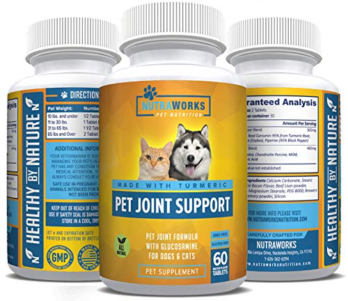 Pet Joint Support Supplement with Turmeric, Glucosamine, Chondroitin & MSM for Dogs & Cats - Improves Mobility, Arthritis Pain Relief, Joint Inflammation, Healthy Cartilage, Hip & Joint Health