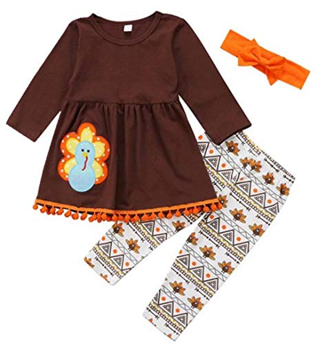 (3PCS Kids Toddler Baby Girls Turkey T-Shirt Top Dress+Pants+Headband Thanksgiving Outfit Size 2-3Years/Tag90 (Khaki))