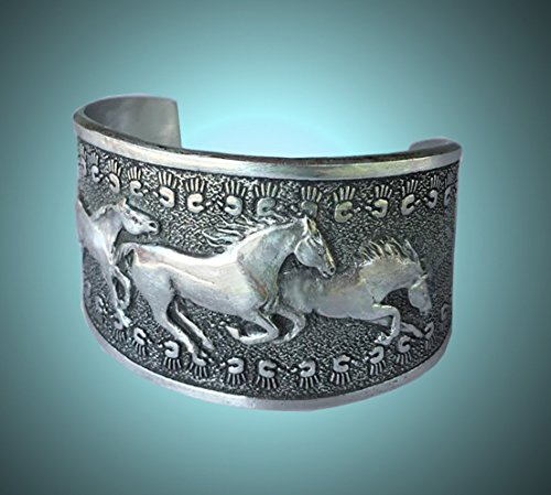 Horse Lady Gifts bracelet, America's Wild Horses sculpted cuff bracelet, trio of three galloping mustangs against a Native American inspired pattern, silvery pewter. Handmade ()