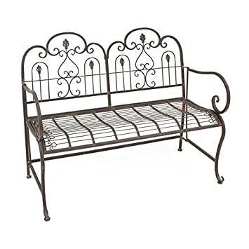 PierSurplus Provence Metal Folding Garden Bench Seat – Warm Brown Cushion not Included Product SKU PF223544