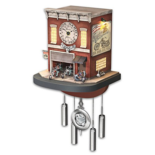Cuckoo Clock: Freedom Choppers Motorcycle Garage Cuckoo Clock by The Bradford Exchange