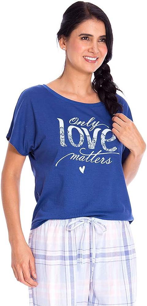BRONZINI Pajama Short//Long Sleeve T-Shirt for Woman Knit Soft