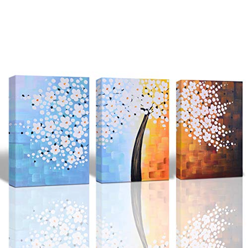 A Cup of Tea 100% Hand Painted White Flower Abstract Wall Art Unframed Oil Painting on Canvas Lucky Tree Art Modern Decor for Living Room Bedroom Home Decor Unframed 16x24 Inch 3Pcs ()