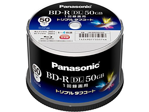 Panasonic Blu-ray BD-R Recordable DL Disk | 50GB 4x Speed | 50 Pack in Spindle Ink-jet Printable