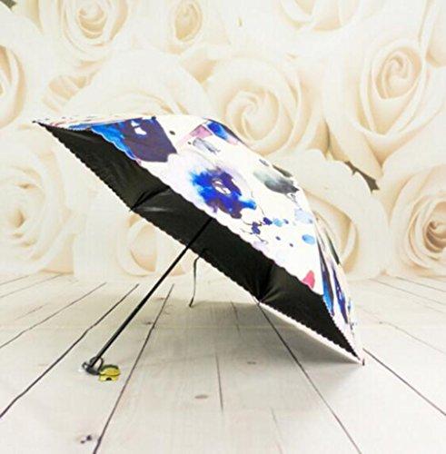 HCJYS JCRNJSB Umbrella, Parasols Umbrella Three Fold Umbrella Easily Open Vinyl Ink Jet Parasols Color Automatic Umbrella Easy to carry foldable Windproof Rainproof umbre ()