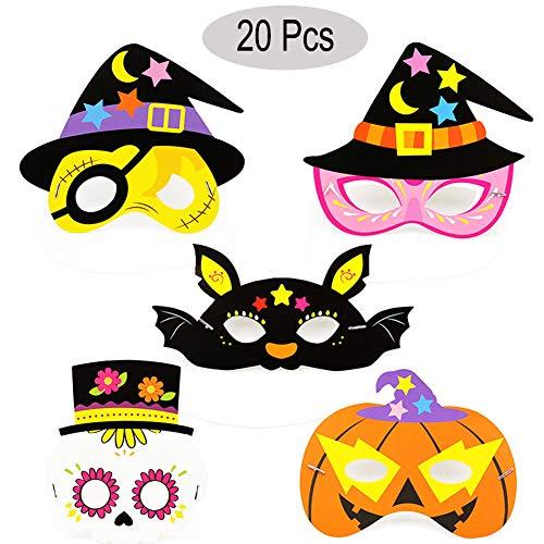 Halloween Masks, Angela&Alex 20PCS Halloween Photo Booth Props Halloween Supplies Pumpkin Bat Masks for Kids & Adults Dress-up Costume Trick-or-Treat Fancy Party