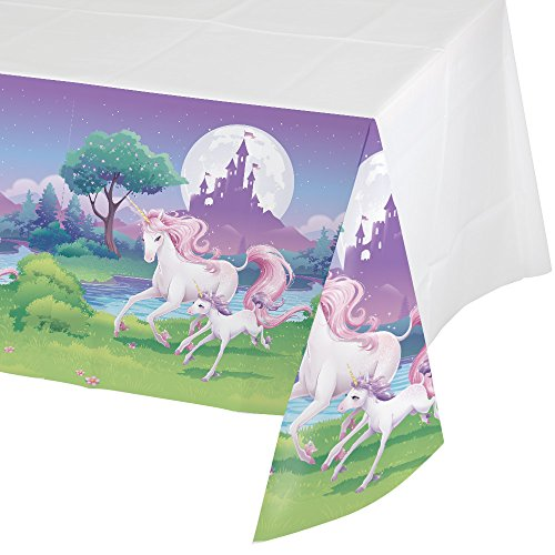 Creative Converting Unicorn Fantasy Border Print Plastic Table cover, 54 x (Fantasy Border)