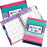 Reminder Binder 2019-2020 18-Month Planner w/ 361 Stickers Weekly & Monthly Views, 6.5'x8.5', Twin-Wire Binding, Hard Cover, Elastic Closure, Planner Stickers, to-Do Lists, Pockets, Tab Dividers